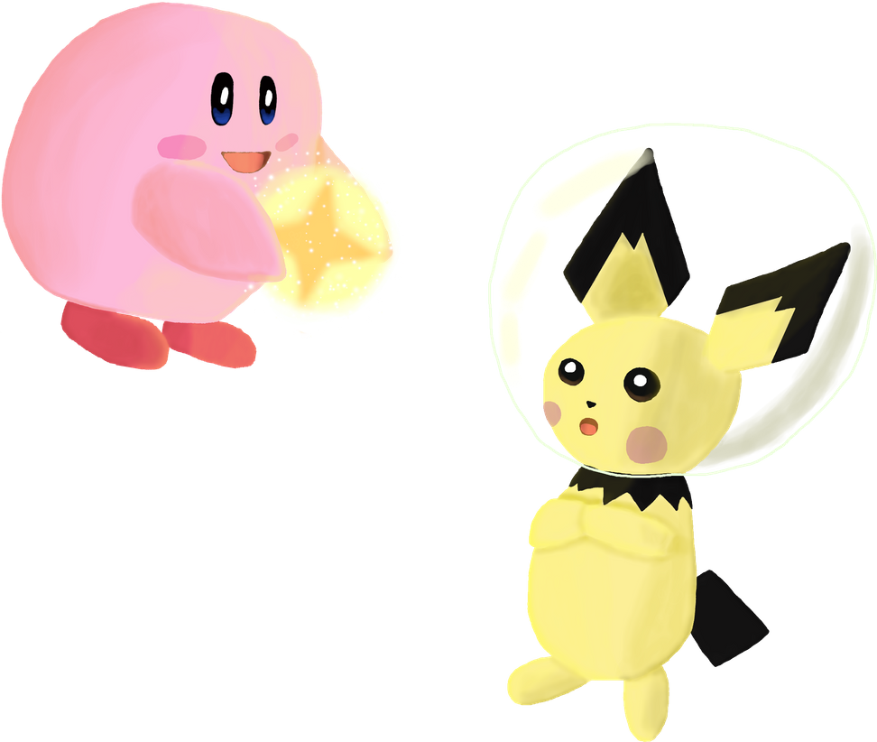 Light Kirby and Space Pichu meet each other